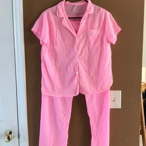Hot pink vintage nylon pajamas